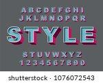 3d bold retro alphabet font.... | Shutterstock .eps vector #1076072543