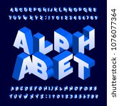 isometric alphabet font. three... | Shutterstock .eps vector #1076077364
