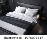 black realistic bed with white... | Shutterstock . vector #1076078819