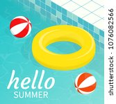 hello summer isometric pool... | Shutterstock .eps vector #1076082566