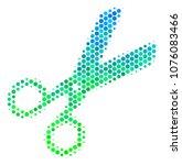 halftone dot scissors pictogram.... | Shutterstock . vector #1076083466
