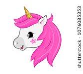 unicorn vector head isolated on ... | Shutterstock .eps vector #1076085353