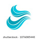 blue water wave icon. vector... | Shutterstock .eps vector #1076085440
