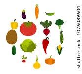 flat vegetables icons set....