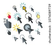flat mouse pointer icons set.... | Shutterstock .eps vector #1076089739