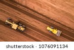 aerial top view tractor and... | Shutterstock . vector #1076091134