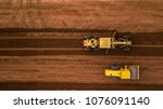 aerial top view tractor and...   Shutterstock . vector #1076091140