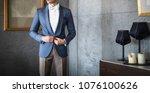 man in elegant custom tailored... | Shutterstock . vector #1076100626