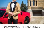 man in custom tailored tuxedo ... | Shutterstock . vector #1076100629
