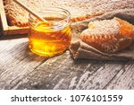 honey background. sweet honey... | Shutterstock . vector #1076101559