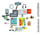 learning foreign languages... | Shutterstock .eps vector #1076108504