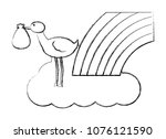 cute stork flying with cloud...