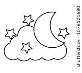 cute moon with cloud and stars