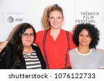 Small photo of New York, NY - April 21, 2018: Alia Hassan, Gabriela Pichler, Zaharash Alboujai attend premiere of Amateurs at Tribeca Film Festival at Cinepolis