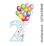 happy second birthday candle.... | Shutterstock .eps vector #1076133848