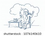 angry business man talking on... | Shutterstock .eps vector #1076140610