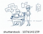 doodle angry business woman... | Shutterstock .eps vector #1076141159