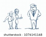 scared business man and female... | Shutterstock .eps vector #1076141168