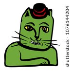 green cat with mushroom hat