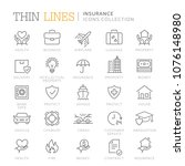collection of insurance thin... | Shutterstock .eps vector #1076148980