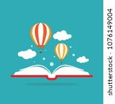 open book with air balloon and...   Shutterstock .eps vector #1076149004