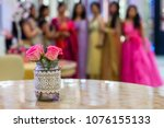 flower vase with rose and in... | Shutterstock . vector #1076155133