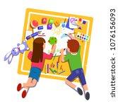 two kids boy   girl paint  ... | Shutterstock .eps vector #1076156093