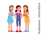 three girls stand together and... | Shutterstock .eps vector #1076156516
