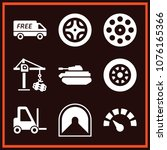 set of 9 transport filled icons ... | Shutterstock .eps vector #1076165366
