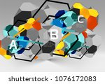 3d hexagon geometric... | Shutterstock .eps vector #1076172083