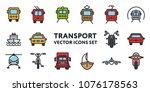 public transport signs. flat... | Shutterstock .eps vector #1076178563