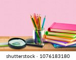 books  pen pencil and office...   Shutterstock . vector #1076183180