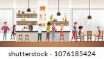 people drink coffe into...   Shutterstock .eps vector #1076185424