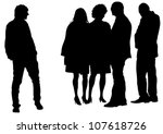 vector drawing silhouette crowds | Shutterstock .eps vector #107618726