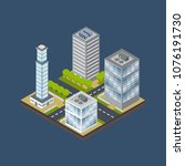 isometric city building... | Shutterstock .eps vector #1076191730