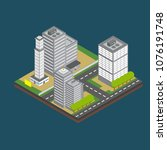 isometric city building... | Shutterstock .eps vector #1076191748