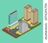 isometric city building... | Shutterstock .eps vector #1076191754