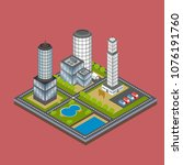 isometric city building... | Shutterstock .eps vector #1076191760
