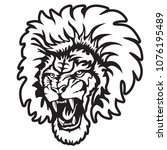 lion angry face tattoo. vector... | Shutterstock .eps vector #1076195489