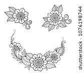 mehndi flower pattern for henna ... | Shutterstock .eps vector #1076198744