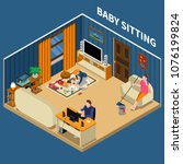 baby sitter during classes with ...   Shutterstock .eps vector #1076199824
