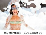 happy little girl with goggles...   Shutterstock . vector #1076200589