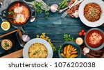 food. set of dishes on the... | Shutterstock . vector #1076202038
