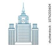 skyscraper building isolated on ... | Shutterstock .eps vector #1076203604