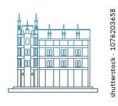 europe antique building on blue ... | Shutterstock .eps vector #1076203658