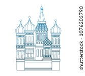 kremlin tower building on blue... | Shutterstock .eps vector #1076203790