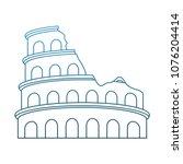 rome coliseum monument on blue... | Shutterstock .eps vector #1076204414