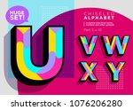 vector mosaic typeset. textured ... | Shutterstock .eps vector #1076206280