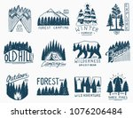 camping badges  mountains... | Shutterstock .eps vector #1076206484