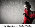Beautiful Woman Wearing A Red...